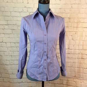 Express Stretch periwinkle blue fitted blouse